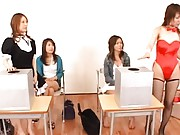 Japanese AV Model has crack aroused by dolls with two vibrators
