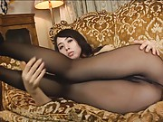 Yuka Osawa Asian shows sexy legs and holes in nylon stockings