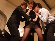 Kaede Matsushima is the black widow having pussy rubbed in nylon