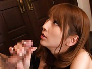 Kaede Matsushima shows ass in scanty when bending to suck tool