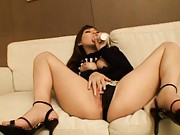 Mei Miura Asian licks dildo and rubs it with her big bazoom bas