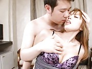 Yuu Namiki Asian is roughly licked on tongue and strokes tool
