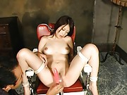 Saki Ootsuka Asian with tied hands and legs gets dildo on boobs