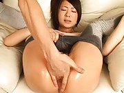 Minori Hatsune Asian in tights is rubbed on clitoris till juices