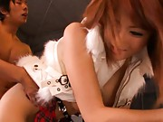 Reon Otowa Asian with jugs in white vest is doggy deeply screwed