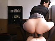 Saori Hara Asian with black blouse is doggy screwed over office