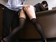 Saori Hara Asian is rubbed with black thong between ass cheeks