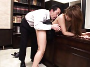 Hikari Hino Asian has nipples sucked and hairy rubbed on office