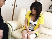Kurumi Katase Asian has her nipples hard from cold and squeezed