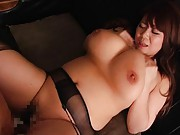 Japanese AV Model with immense titties has slit licked on office