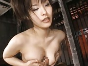 Nao Ayukawa Asian with big jugs in ropes has slit under vibrator