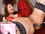 Sakurako Asian in stockings has tool stuck inside her asshole