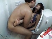 Mai Miura Asian gets vagina drilled so deeply sitting on toilet
