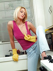 House cleaning lady petting pussy with a toy