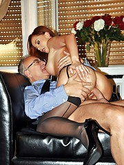 Hot stockings loving slut drilled by old cock