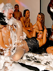 Horny girls fucked hard at a big bubble party