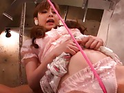 Hirono Imai Asian has vagina rubbed with rope over her pink panty