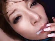 Miho Ashina Asian has mouth full of sperm after sucking joystick