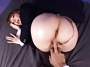 Miho Ashina Asian has thong and stockings away for her asshole