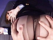Miho Ashina Asian in steward uniform has ass touched on stockings