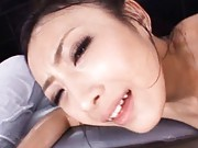 Japanese AV Model with lotion on body has holes fucked by hunk