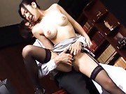 Nana Ogura Asian with big jugs is fingered in slit form behind