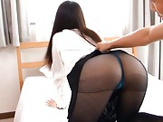 Noa Kasumi Asian spreads legs in stockings and shows naughty ass