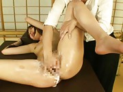 Hinata Komine Asian is rubbed and fingered with lot of lotion
