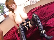 Hitomi Tanaka Asian in leather stockings shows huge cans to men