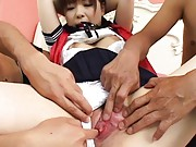 Mika Sonohara Asian with big nipples gets pussy rubbed with thong