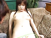 Mika Sonohara Asian gets cream on pubic hair and dildo to lick
