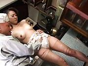 Ruri Hayami Asian with broken stockings has vagina licked by hunk