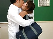 Miho Imamura Asian is kissed and has pussy rubbed in classroom
