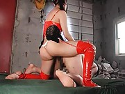 Maria Ozawa Asian in red latex fucks dude asshole with strip on