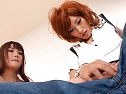 Kirara Asuka Asian is fingered by another honey with fake boner