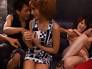 Kirara Asuka Asian having a drink with honey and other fellows