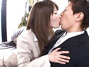 Miho Imamura Asian is naughty with two dudes at her interview