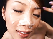 Asami Ogawa Asian with mauve nails has thick sperm on her face