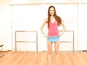 Asami Ogawa Asian in short skirt and pink top calls hunks to her