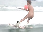 Japanese AV Model practices water sports with no clothes on her