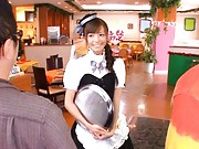 Aino Kishi Asian waitress is touched over scanty by two clients
