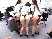 Japanese AV Model and two chicks gets sex toys in their thongs