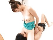 Erina Shirase Asian with boobs out of dress is licked on vagina