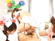 Japanese AV Model is screwed with other two waiting 4 their time