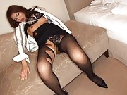 Aya Matsuki Asian with broken stockings has to suck two fingers