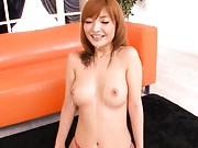 Riona Suzune Asian takes so much sperm on face and jugs from dick