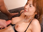 Riona Suzune Asian gets tones of sperm on big hooters and face