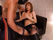 Riona Suzune Asian in long boots tries to suck one very long dick