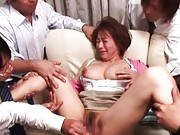 Reiko Yamaguchi has big jugs squeezed and slit teased in orgy