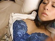 Kaede Himeki Asian has nipples of big boobs caressed under bra
